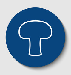 Mushroom simple sign white contour icon vector