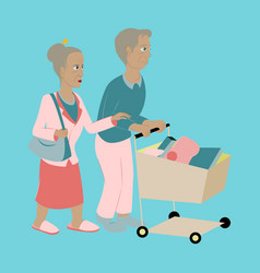 Pensioners with a trolley products vector