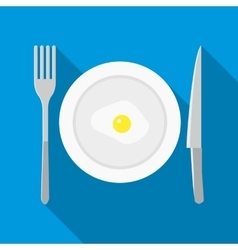 Plate with fried egg icon in flat style vector