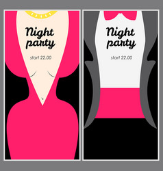 Retro party poster with woman in pink evening vector