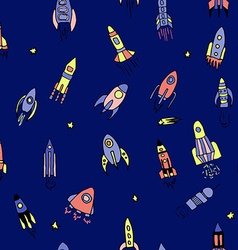 rocket set hand drawn seamless pattern vector image vector image