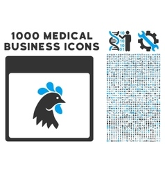 Rooster head calendar page icon with 1000 medical vector