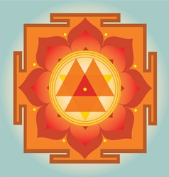 Sacred geometry orange durga yantra vector