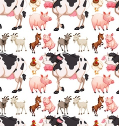 Seamless background with farm animals vector image