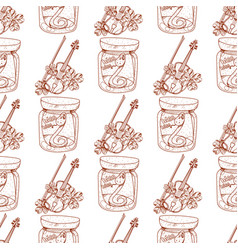 Seamless pattern with a violin and a snake in a vector
