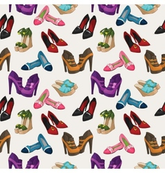 Seamless womans fashion shoes pattern vector