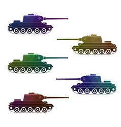 set of five battle retro multicolor tanks vector image