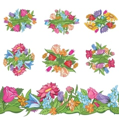 Set of floral designs and seamless border vector image vector image