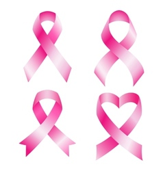 Set of pink breast cancer ribbons vector image vector image