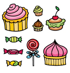 set with sweets vector image vector image