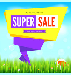 Super sale summer background cut paper art style vector