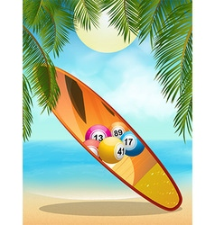 Tropica beach with bingo surfboard vector image vector image