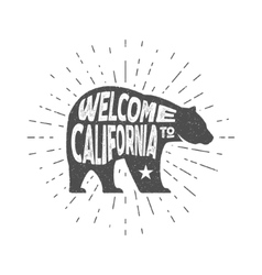 Vintage california republic bear with sunbursts vector