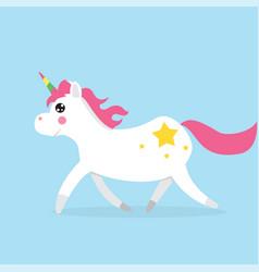 white cute magic unicorns character vector image vector image