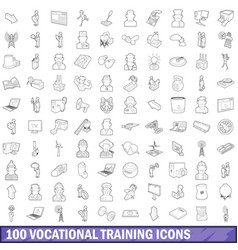 100 vocational training icons set outline style vector