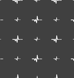 Pulse sign seamless pattern on a gray background vector