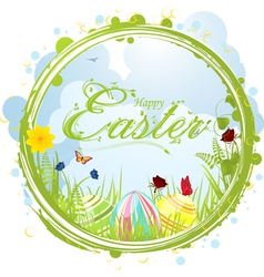 Happy easter border background vector