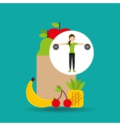 Woman weight exercising healthy food bag vector