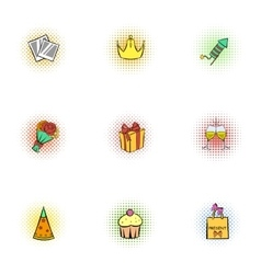 Holiday birthday icons set pop-art style vector