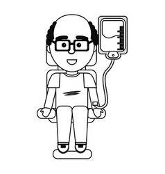 Figure man donating blood with glasses vector