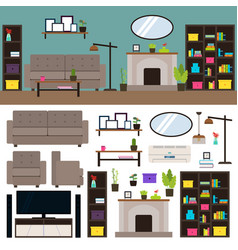 Living room interior elements collection vector