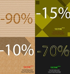 15 10 70 icon set of percent discount on abstract vector