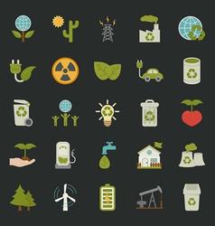 Green eco icons set vector