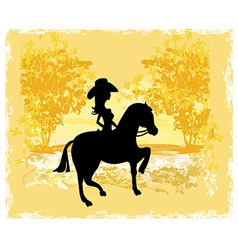 Silhouette of Cowgirl and Horse - grunge vector image
