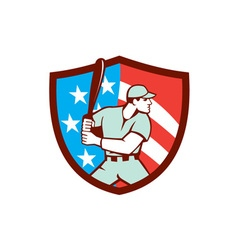 American baseball batter hitter shield retro vector