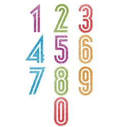 Retro style double line geometric numbers set with vector