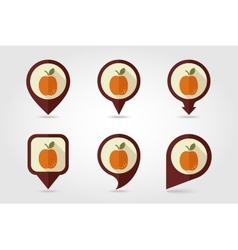 Apricot mapping pins icons vector