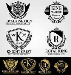 Heraldic crest logos and badges vector