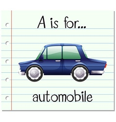 Flashcard letter a is for automobile vector