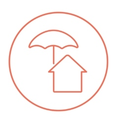 House under umbrella line icon vector