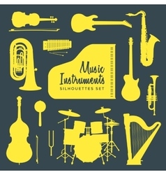 music instruments silhouettes collection vector image