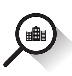 Magnifying glass with city icon vector