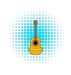 Acoustic guitar icon in comics style vector