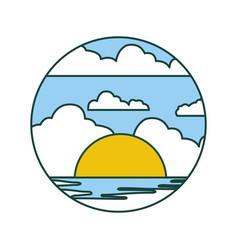 Beautifu seascape summer icon vector