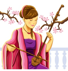 Beautiful chinese erhu player vector