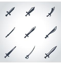 black sword icon set vector image