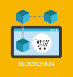 Blockchain technology device shopping online vector