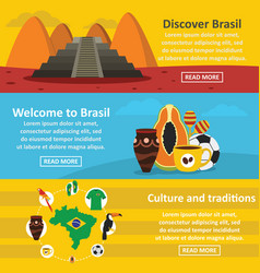 Brasil travel banner horizontal set flat style vector