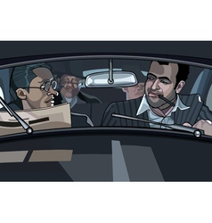 Cartoon male gangsters in the car vector