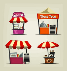 cartoon snack street fast food stand coffee bar vector image vector image