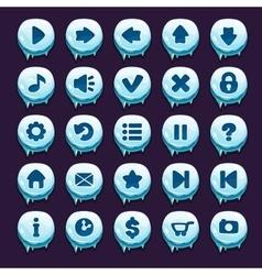 Cartoon winter buttons set vector