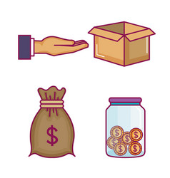 Crowdfunding icons set with idea donations vector