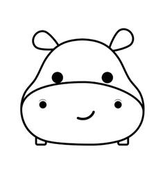 Cute hippopotamus isolated icon vector