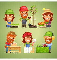 Farmers at spring work set vector