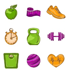 Fitness sketch line icons vector