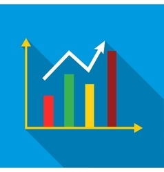 Growth chart icon flat style vector